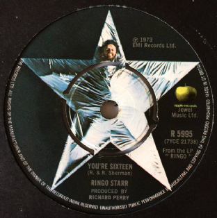"Ringo Starr ‎- You're Sixteen (7"") (VG-/G)"